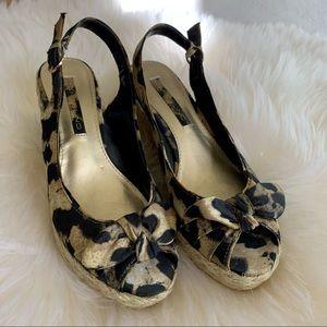 Bandolino Shoes Wedge Leopard Sandals 6 1/2 BNWOT